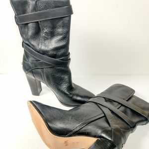 Coach Shoes - Coach blk leather stack heel calf length boots 9